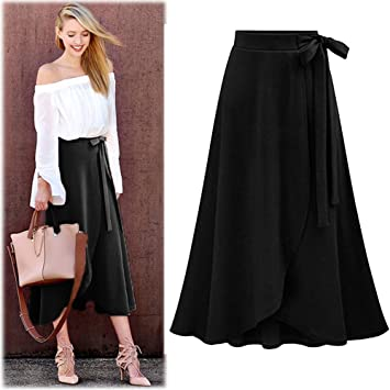 c399a21d54 Amazon.com  Women s High Waist Maxi Skirt Female Irregular Split Waist Belt  Skirt Ladies Knitted Linen Long Skirt New 2019  Home Improvement