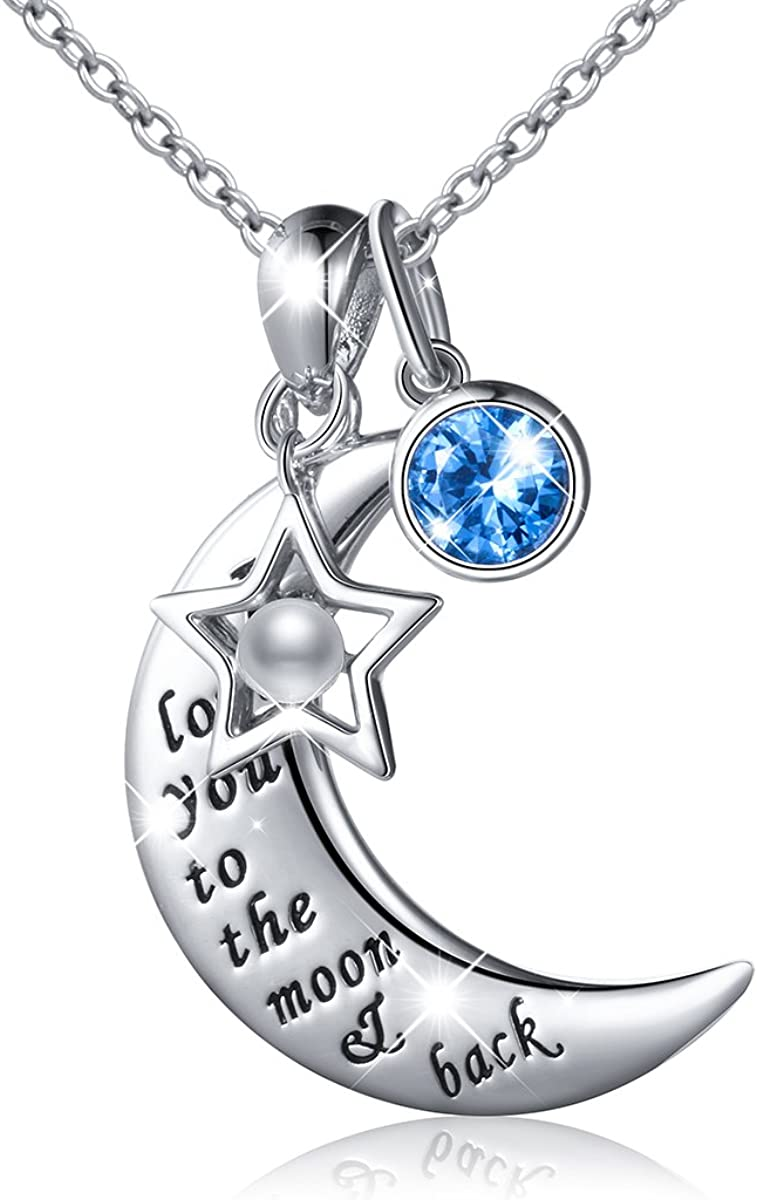 Sweetheart anniversary Mother earth lover Gift protection strength Celestial star crescent jewelry Love you to the moon and back necklace