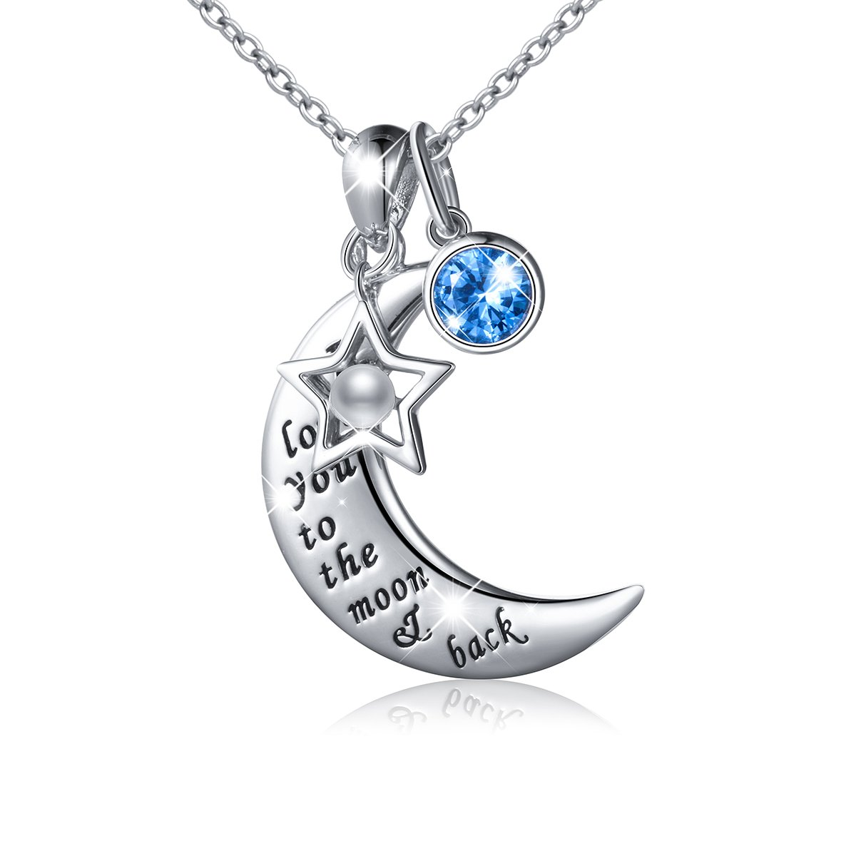"""JZMSJF S925 Sterling Silver """"I Love You to The Moon and Back""""Charm Crescent Star/Christmas Hat Pendant Necklace Forever Love for Mom,Wife,Lover,Couple"""