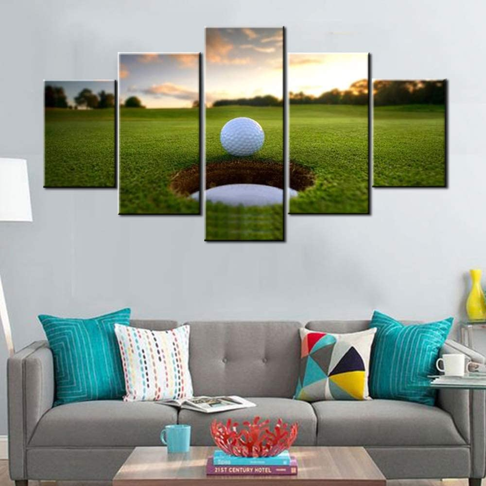 Amazon Com 5 Piece Canvas Wall Art For Living Room Golf Course Pictures White Golf Ball Paintings Green Lawn Scenery Artwork Gallery Wrapped Modern Home Decor Framed Ready To Hang Posters And Prints 60 Wx32 H Posters