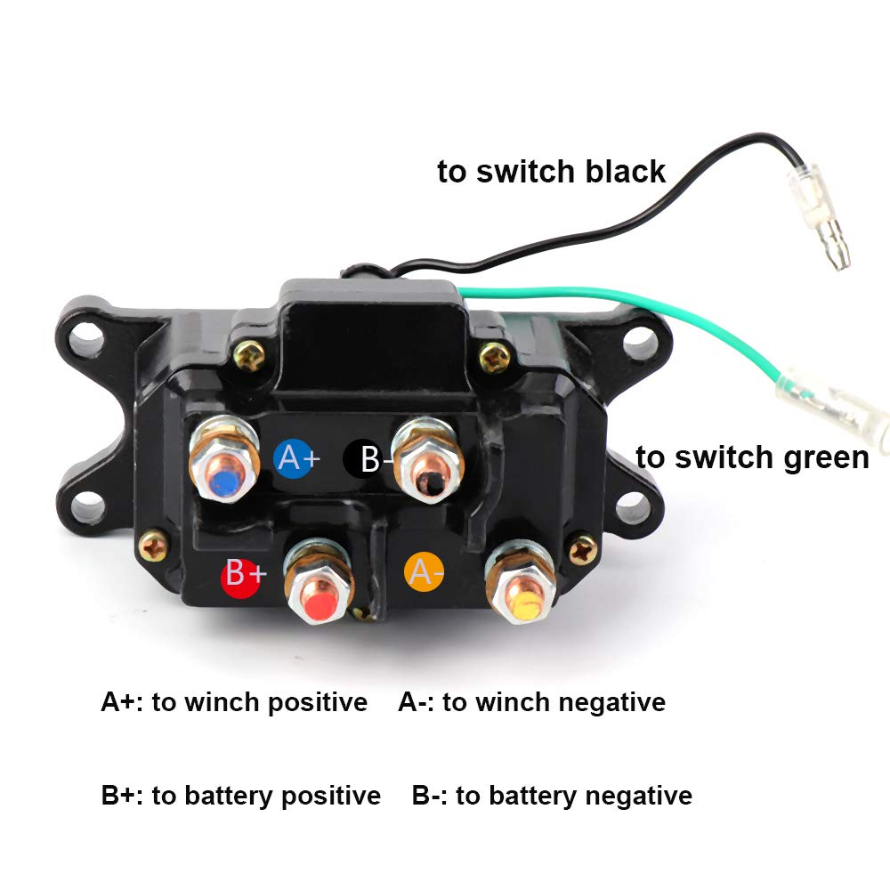 ISSYZONE Off-road Winch Rocker Thumb Switch with 6 Protecting caps for ATV UTV 2000-5000lbs Winch 12V 250A Winch Solenoid Relay Contactor