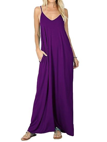 f0905933a9b Amazon.com  PrinStory Women s Loose Maxi Dresses Casual Long Dresses ...