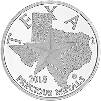 2018 - Texas Silver Round 1 OZ Brilliant Uncirculated