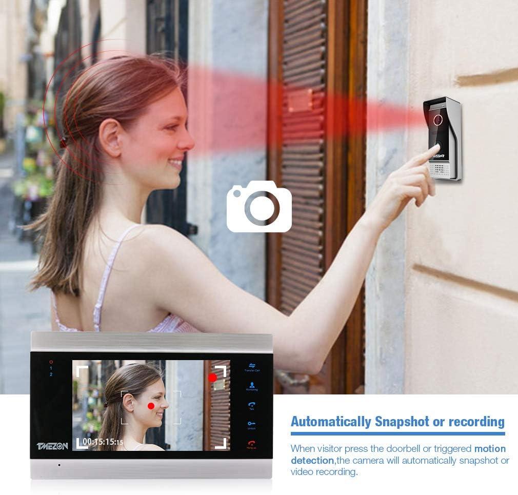 Nachtsicht T/ürsprechanlage TMEZON 7 Zoll Farb-LCD-Touch-Knopf Video-T/ürsprechanlage 1-Monitor Einstiegs-System-Kit unterst/ützt Aufnahme//Schnappschuss