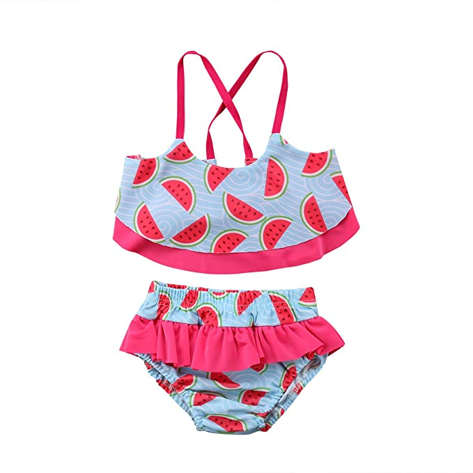 8ab324986a Amazon.com: Infant Baby Girls Swimwear Watermelon Printed Sling strapshort  top Elastic Waist Ruffle Short Pants Two Pieces Bikini: Clothing