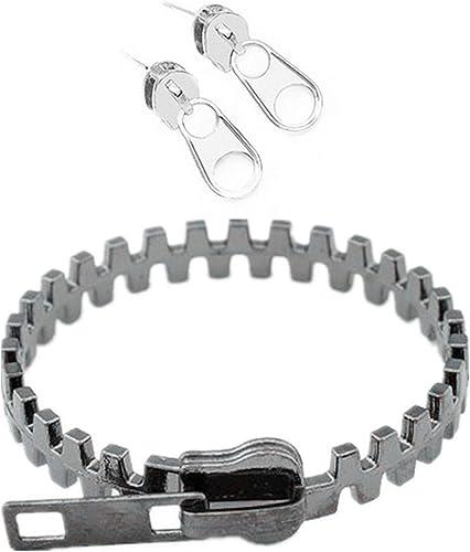 Ppx Zip Ohrringe Und Reißverschluss Armband Set Für Frauen Männer Unisex Gun Metal Amazon De Schmuck