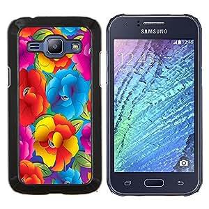KLONGSHOP // Cubierta de piel con cierre a presión Shell trasero duro de goma Protección Caso - Vibrante Ramo del verano Flores - Samsung Galaxy J1 J100 //