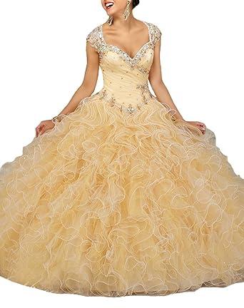 Sunday Womens Glitz Beading Vestidos 15 Ball Gown Sweet 16 Quinceanera Dress at Amazon Womens Clothing store: