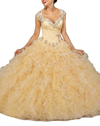 Sunday Womens Glitz Beading Vestidos 15 Ball Gown Sweet 16 Quinceanera Dress at Amazon Womens Clothing store:
