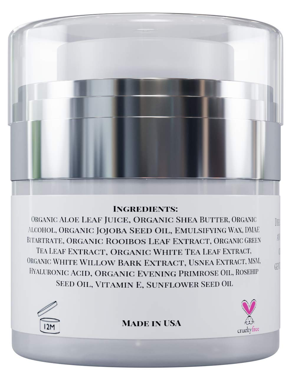 Natural Anti Aging Face Cream with Hyaluronic Acid, Vitamin E and Rosehip Oil. Day and Night Anti Wrinkle Moisturizer for All Skin Types Organic Ingredients Ultra Hydration and Glow 1 oz.