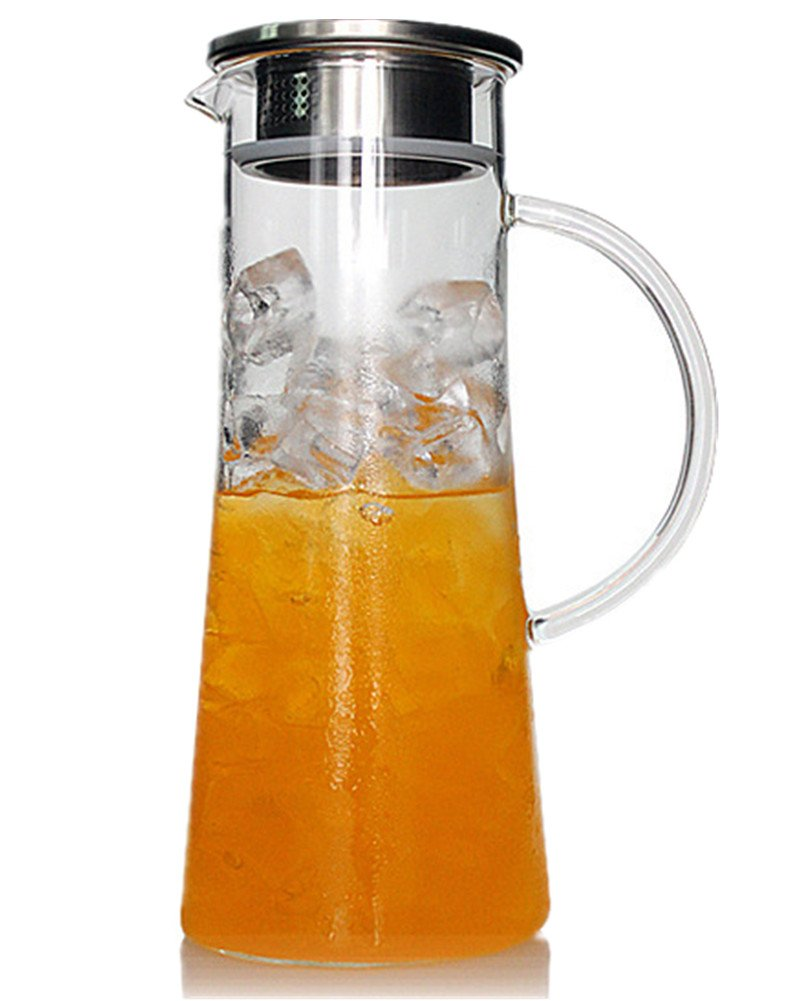 Emoyi 1.5 Liter / 52 Oz Hand Made Glass Water Pitcher with Stainless Steel Strainer Lid gy-565