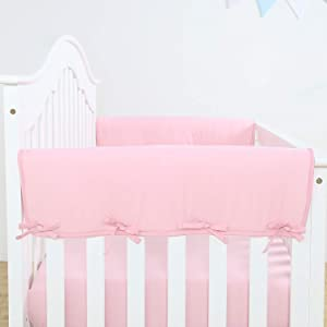 TILLYOU 2-Pack Padded Baby Crib Rail Cover Protector Safe Teething Guard Wrap for Thick Side Crib Rails(Measuring Up to 18