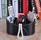 PU Leather TV Remote Control Media Phone Organizer holder with 3 Sections (Black Diamond Stripe)