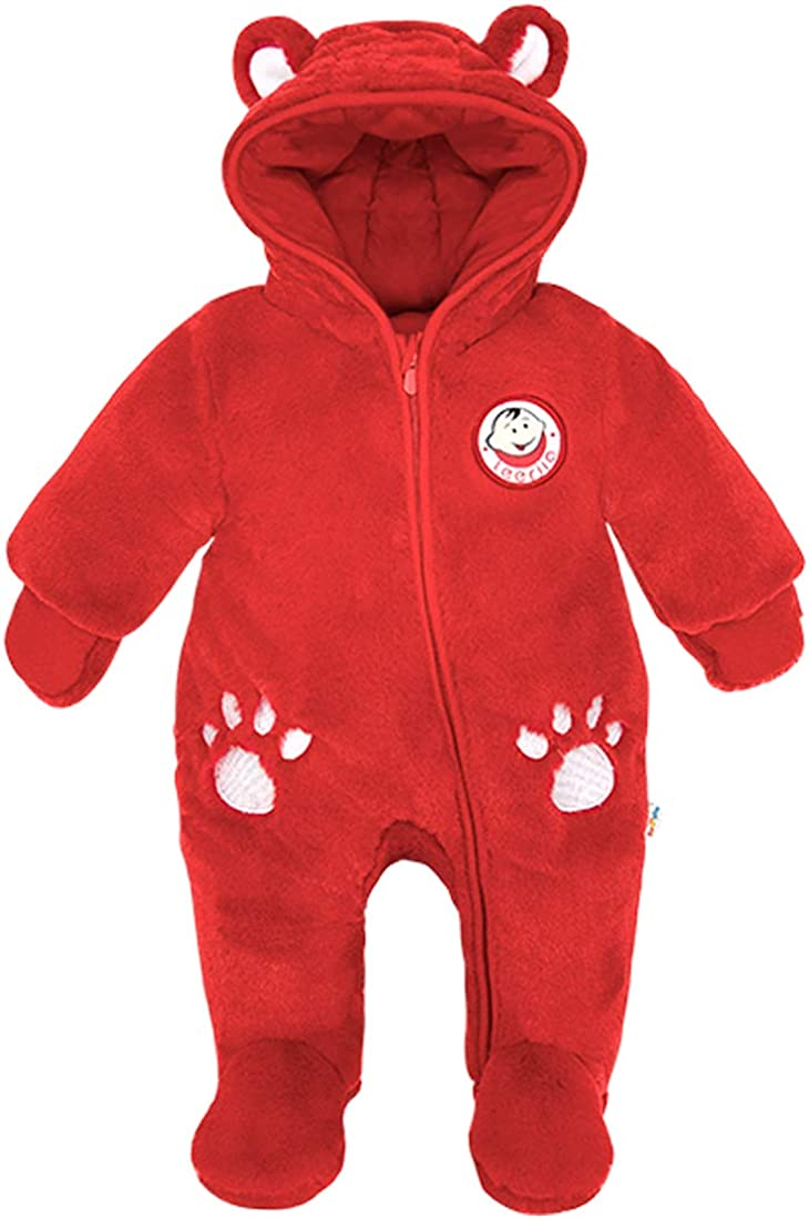 Minizone Baby Fleece Snowsuits Hooded Rompers Footed Jumpsuit Infant Thick Onesies Fall Winter Outfits