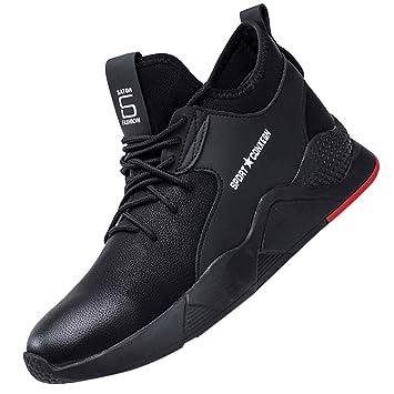 LuckyGirls Zapatos de Correr de Hombre Cuero Zapatillas Casual Calzado Running Bambas Deportivas: Amazon.es: Deportes y aire libre