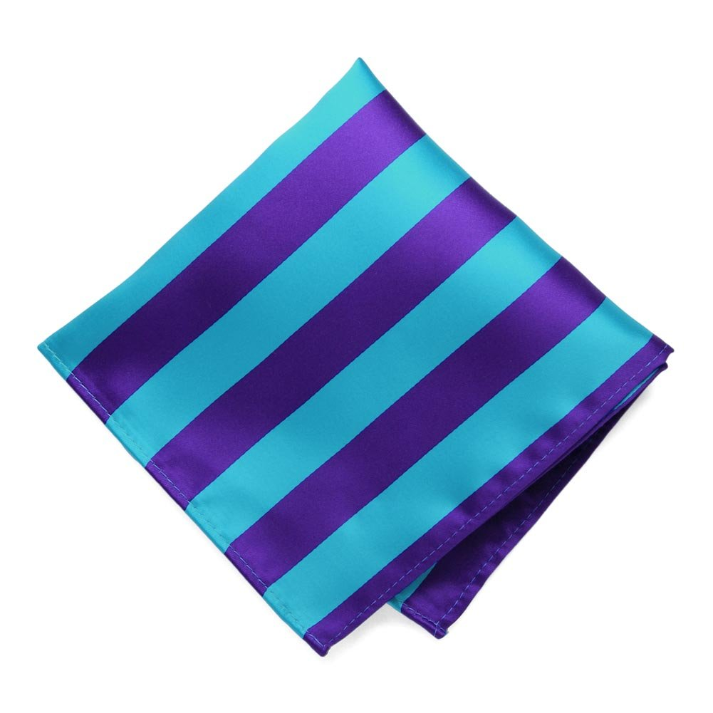 TieMart Dark Purple and Turquoise Striped Pocket Square