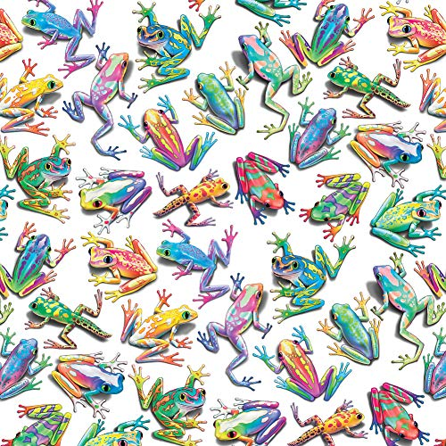 GRAPHICS & MORE Rainbow Rainforest Frogs Sticky Fingers Pattern Premium Roll Gift Wrap Wrapping Paper