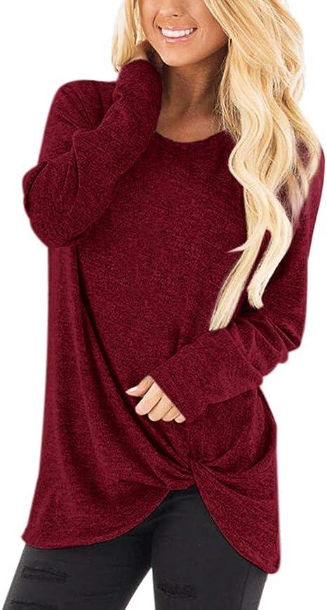 ღLILICATღ Camiseta Basica Mujer Casual Sudadera Manga Larga Primavera Cuello Redondo Color Sólido Blusa Fiesta Mujer Carnaval Camisa Oficina Suelto Verano: Amazon.es: Deportes y aire libre