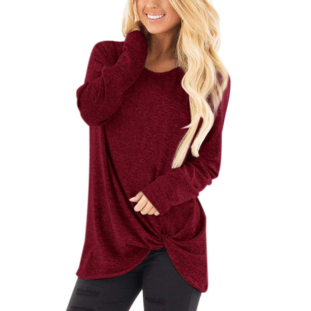 TWGONE Long Sleeve T Shirt Women Long Length Knot Front Loose O Neck Casual Solid Blouse Tops(X-Large,WineRed-1)