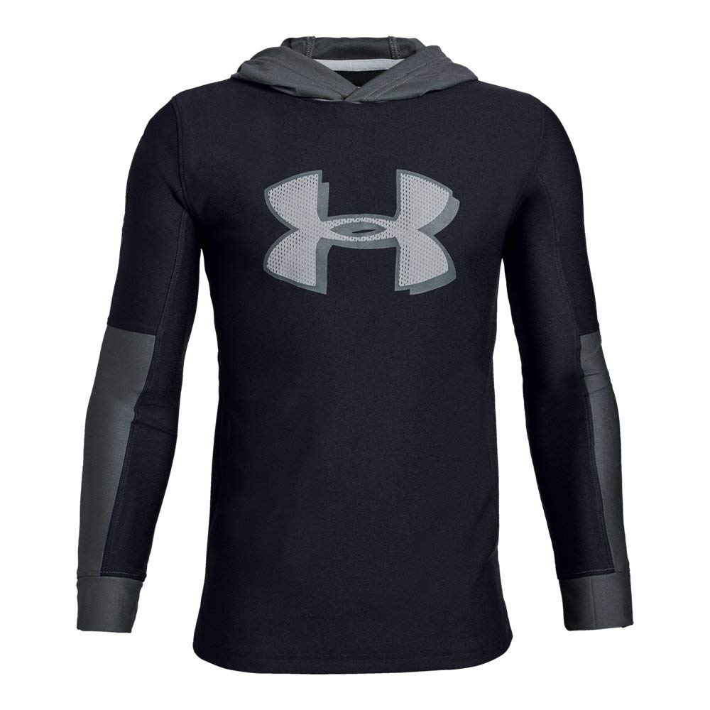 Under Armour  Boys'Tech Hoodie, Black//Mod Gray, Youth Small by Under Armour