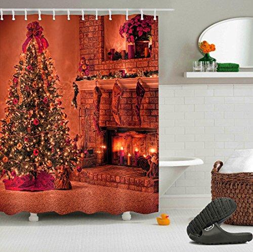 "Merry Christmas Season Eve New Year Decorative Decor Gift Shower Curtain Polyester Fabric 3D Digital Printing 72x72\"" Mildew Resistant Warm Gold Fireplace Tree Stocking Bathroom Bath Liner Set Hooks"