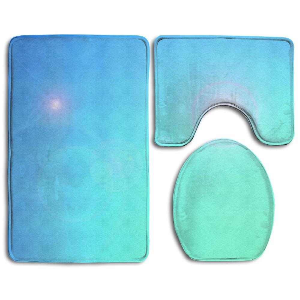 Light Blue Wallpaper Soft Toilet Rug 3 Pieces Set, Non Slip Bathroom Rugs, U-Shaped Toilet Mat, Toilet Lid Cover