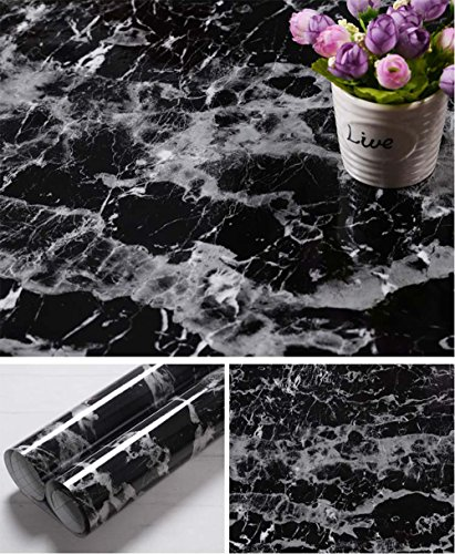 Faux Black Marble Contact Paper Self Adhesive Film Vinyl Granite Shelf Liner for Covering Counter Top Kitchen Cabinet (24''x78.7'') - Black Marble Top Counter