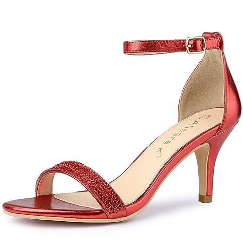 de1e21f4c79ec Allegra K Women's Stiletto Heels Rhinestone Ankle Strap Sandals