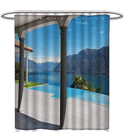 Italian Shower Curtains Fabric Extra Long Lake Maggiore View From The Terrace Balcony House Pool Art