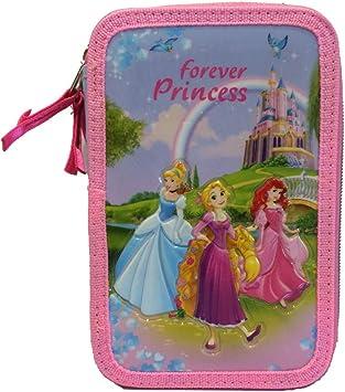 Disney Princess Estuche 3 Zip Portapluma Triple Carioca Completa, Estuche Completo Tres Cremalleras Disney Princesas: Amazon.es: Juguetes y juegos