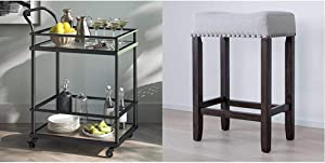 """Nathan James Carter Rolling Bar and Serving Cart 2-Tiered Glass and Metal, Black/Brown & 21302 Hylie Nailhead Wood Pub-Height Kitchen Counter Bar Stool 24"""", Gray/Dark Brown"""