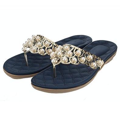 57ecdf46c37 Womens Flip-Flops Summer Flat Pearl Thong-Sandals Navy 5.5 M(B)