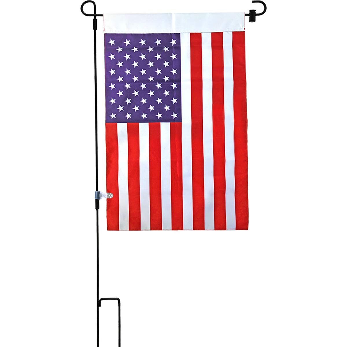 W&X Garden Flag Stand with American Flag Garden Flag,Anti-Wind Clip,Stopper,Waterproof 2 Sided 12.5x20 Inch Patriotic American Flag Banner Keep Your Flags from Flying Away in High Winds