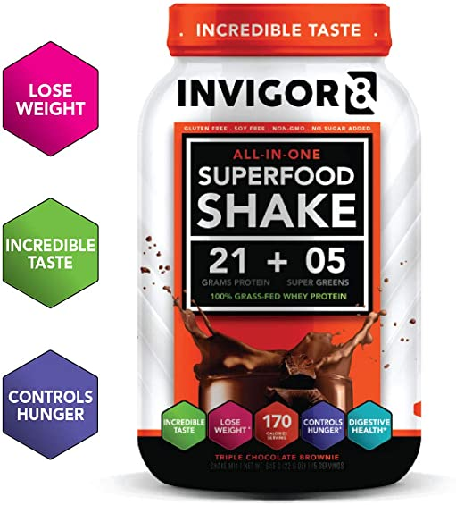 INVIGOR8 Superfood Shake Chocolate Brownie with Immunity Boosters – Gluten Free Non GMO Meal Replacement Grass-Fed Whey Protein Shake with Omega 3 645g