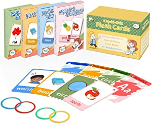 Flash Cards for Toddlers 2-4 Years, Educational Card Set of 4 for Preschool, Including Alphabet & Numbers, Color & Shapes, First Words and Emotions & My Body-Kindergarten Homeschool Supplies-144 Cards