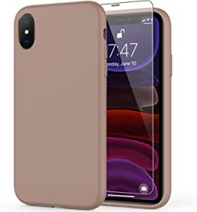 DEENAKIN iPhone Xs Max Case with Screen Protector,Soft Liquid Silicone Gel Rubber Bumper Cover,Slim Fit Shockproof Protective Phone Case for iPhone Xs Max Light Brown