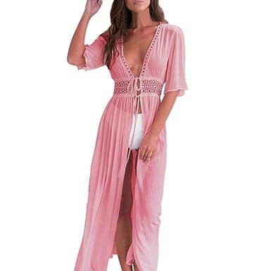 5d28b2667b Alixyz Women's Lace Crochet Long Kimono Cardigan Maxi Bikini Swimsuit Cover  up (S, Pink