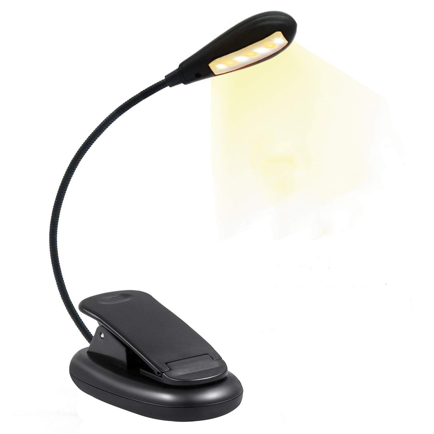 BBKANI Rechargeable 7 LED Reading Light, Easy Clip on Book Lights for Reading in Bed. 3 Brightness Eye-Care(Warm/Cool White), Lightweight, Handy,Up to 60 Hours Reading, for Book, Kindle and Laptop