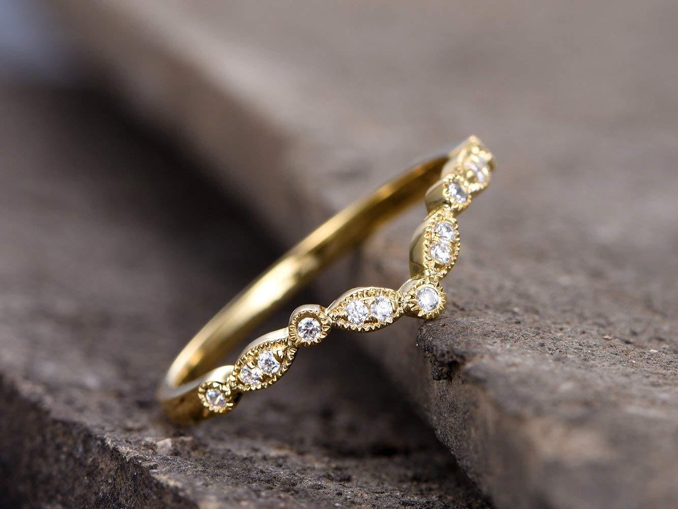 Chevron Ring Delicate Diamond Ring Minimalist Ring Art Deco Wedding Band V Ring Rose Gold Curved Diamond Wedding Band