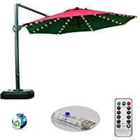 Patio Umbrella Lights, Remote Control and Timer, 8-Ribs 104 LED String Decor Lights USB Plug in for Restaurant Coffee Shop Outdoor Garden Backyard Holidays Party (Warm White)