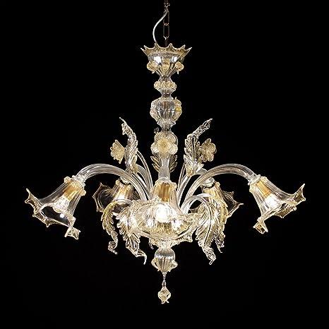 La Giudecca lámpara de cristal de Murano 5 luces cristal oro ...