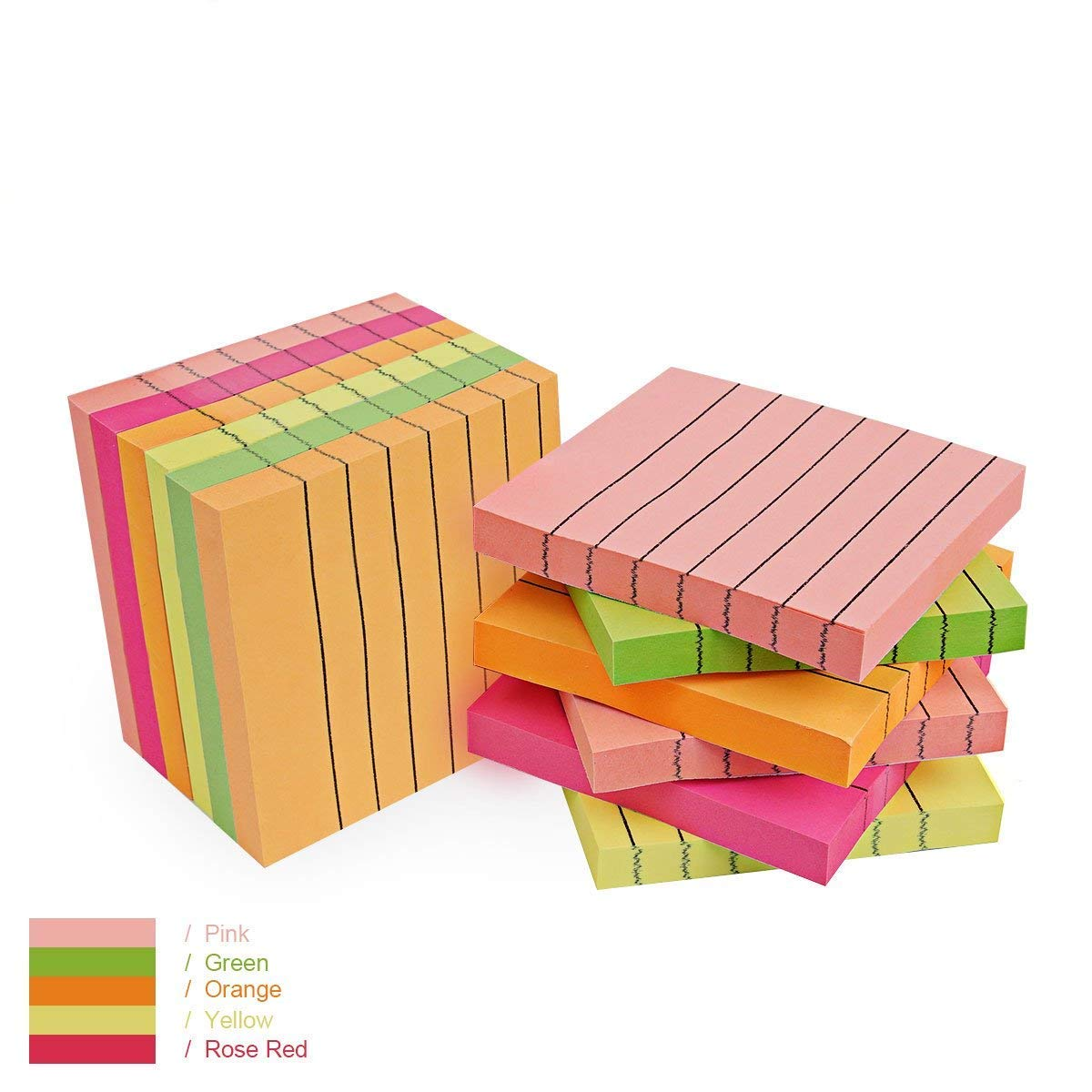 Sticky Notes Lined 12 Pads, 3 in x 3 in,100 Sheets/Pad, 5 Assorted Bright Colors Super Sticky Note Pads, Easy to Post for Home, Office
