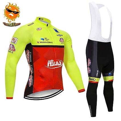 ADKE Hombre Invierno Traje Ciclismo Conjunto, Ropa de Bicicleta Manga Larga Maillot y Pantalones de Ciclismo para MTB