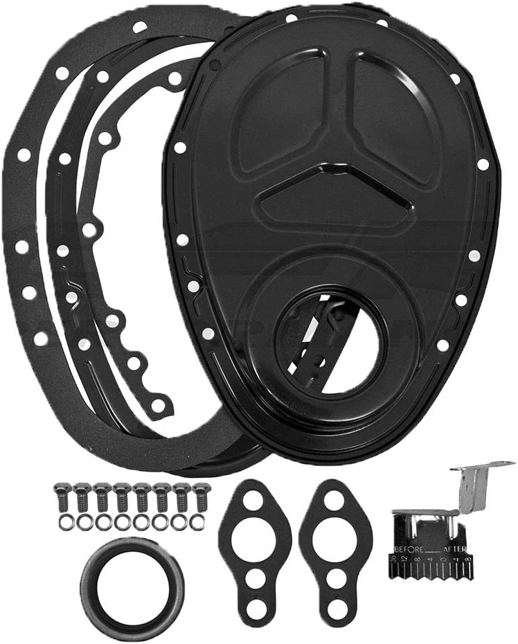 Fits 1955-65 Chevy Small Block Steel 2 Piece Timing Chain Cover Set Edp Black