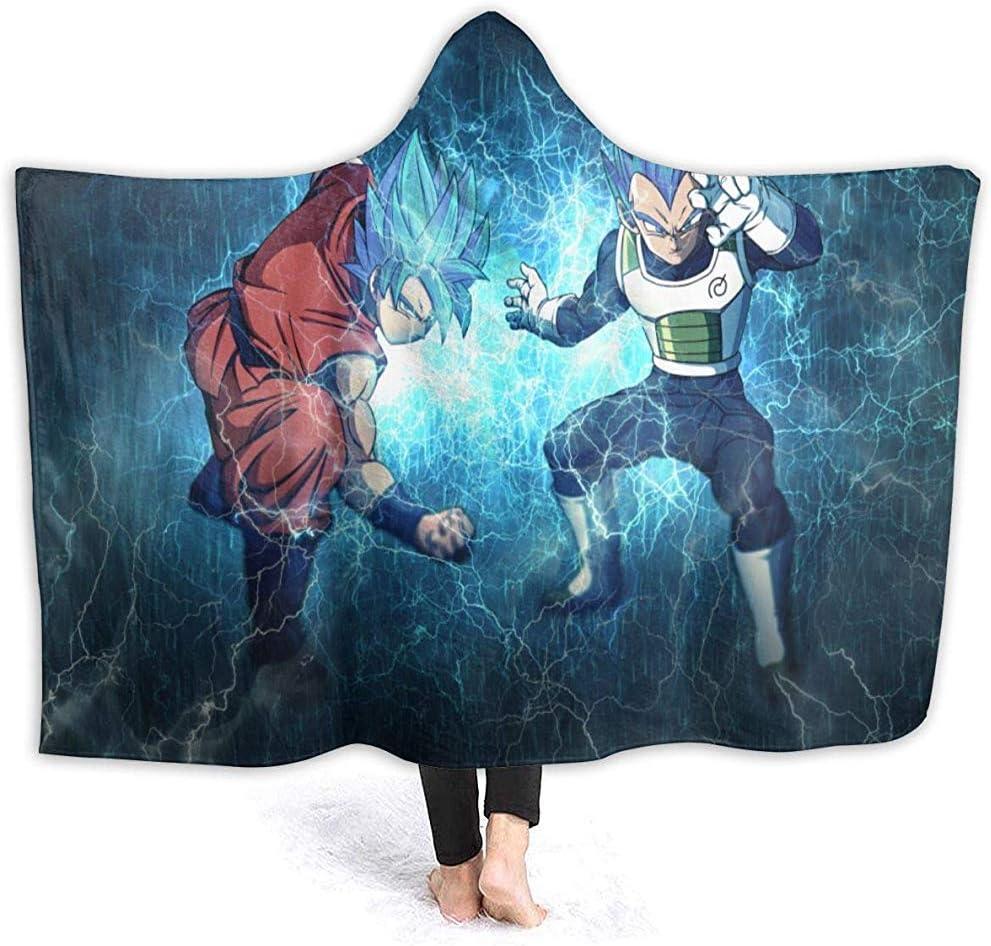 Groefod Couverture /à Capuche Dragon Ball Z Guku Couverture Chaude avec Flanelle Anti-Boulochage Douce pour Enfants
