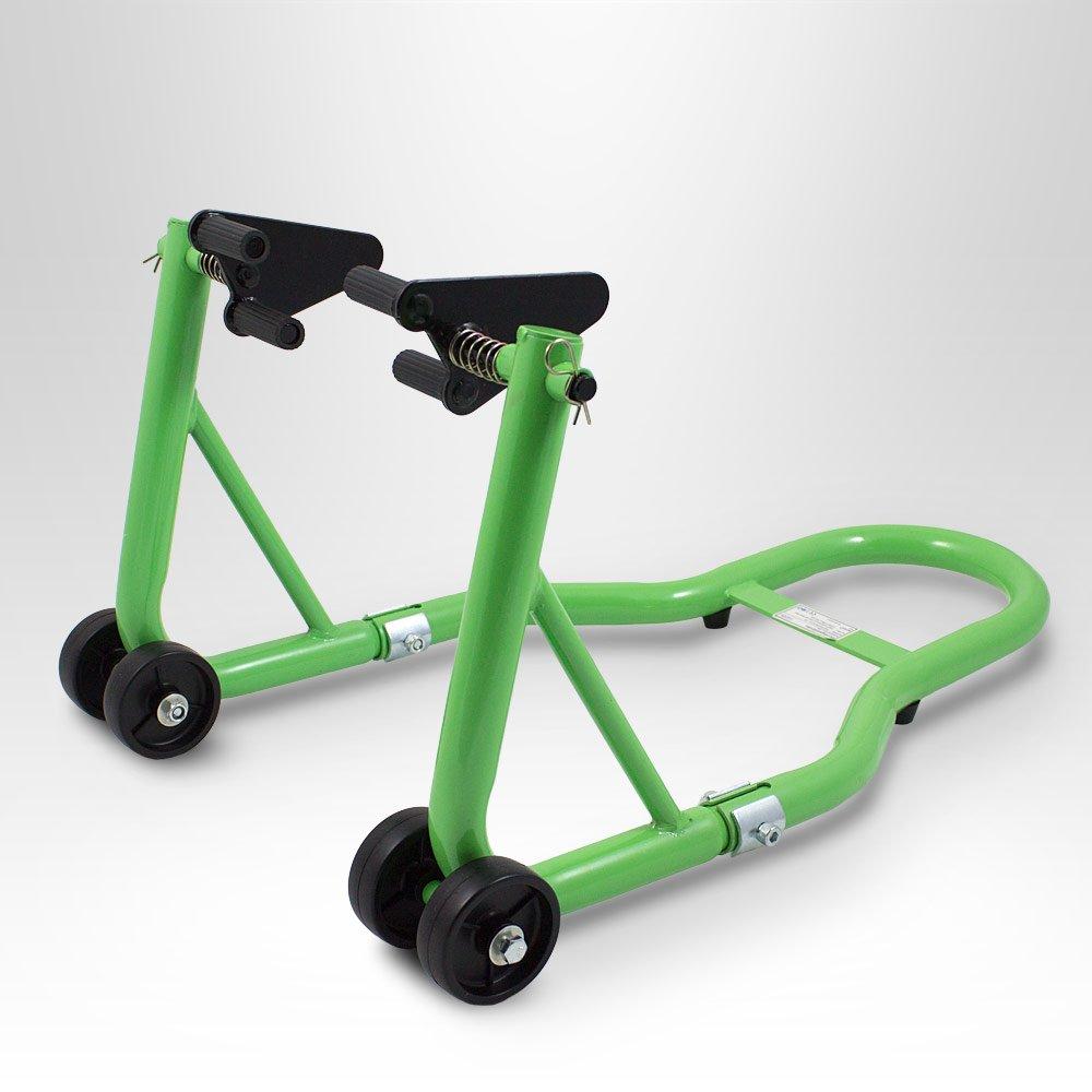BITUXX® Motorradständer Vorn Motorrad Montageständer Vorderrad Transportständer Grün Aufnahme 21 - 26 cm + für fast alle Motorräder geeignet MS-Point