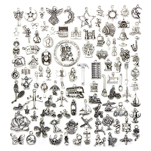 JUNKE 100 PCS Mixed No Repeated Retro Dangle Charm Spacer Beads Antique Smooth Tibetan Silver Alloy Charms Pendants Bulk DIY Jewelry Findings Accessory for Making Necklace ()