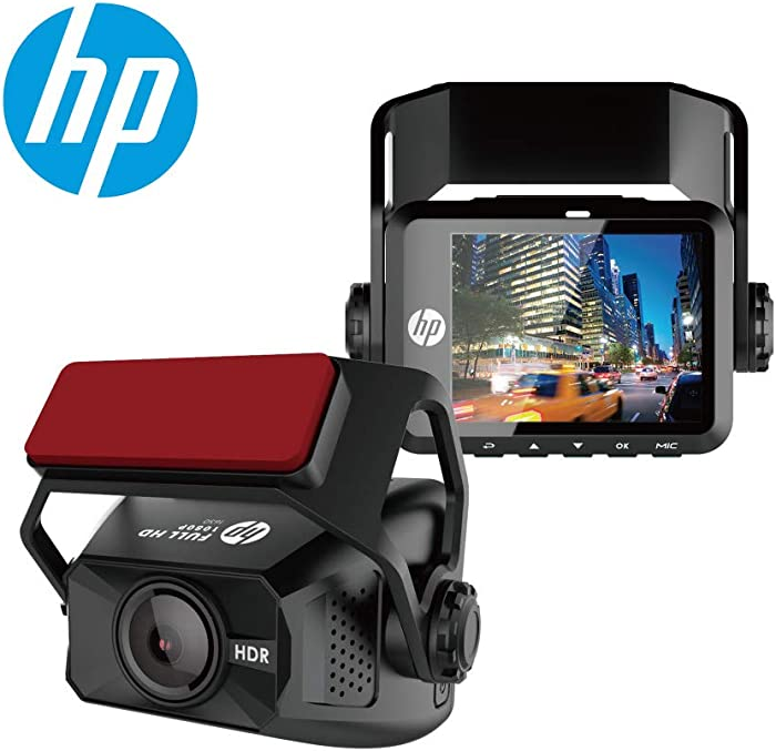HP F650 Dash Cam, 1080P Full HD, Super Night Vision with, Parking Mode, Ultra-Wide Angle Lens, HDR, Built-in G-Sensor, Loop Recording and Emergency Recording