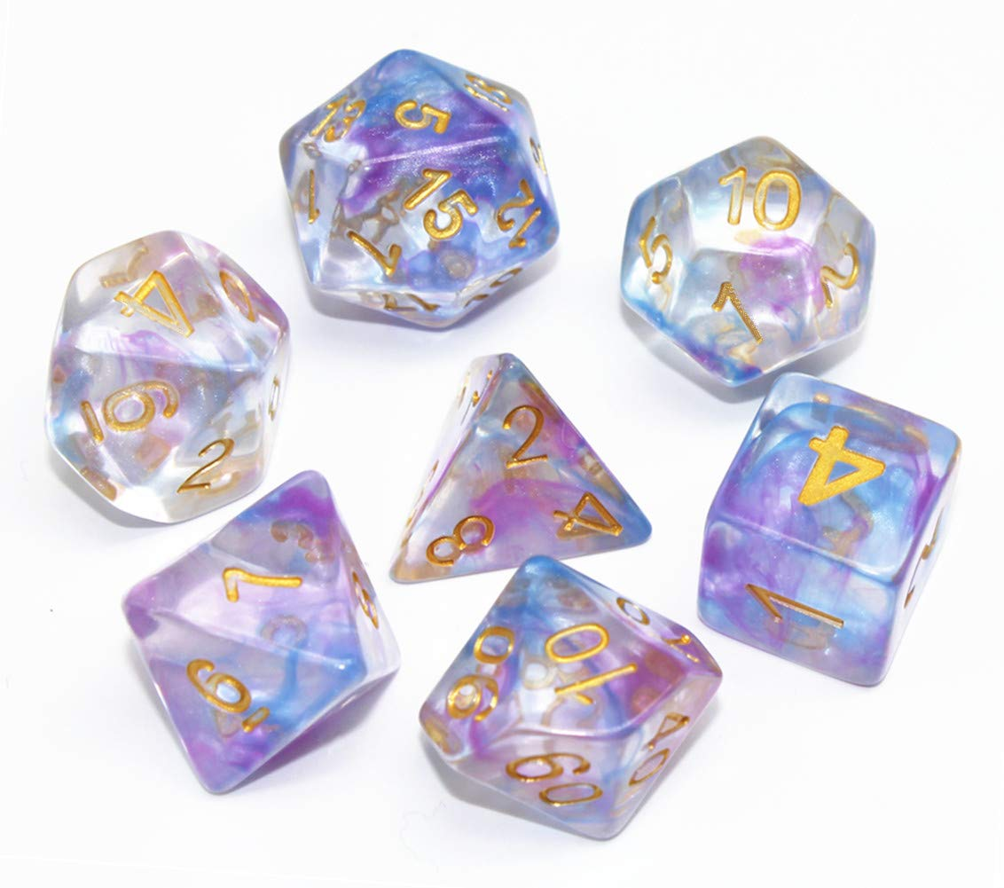 HD Polyhedral Dice Sets DND Game Dice for Dungeons and Dragons(D&D) Role Playing Game(RPG) MTG Pathfinder Table Game Dice Flowing Series Double Color Transparent Dice (Purple-Blue) by HD