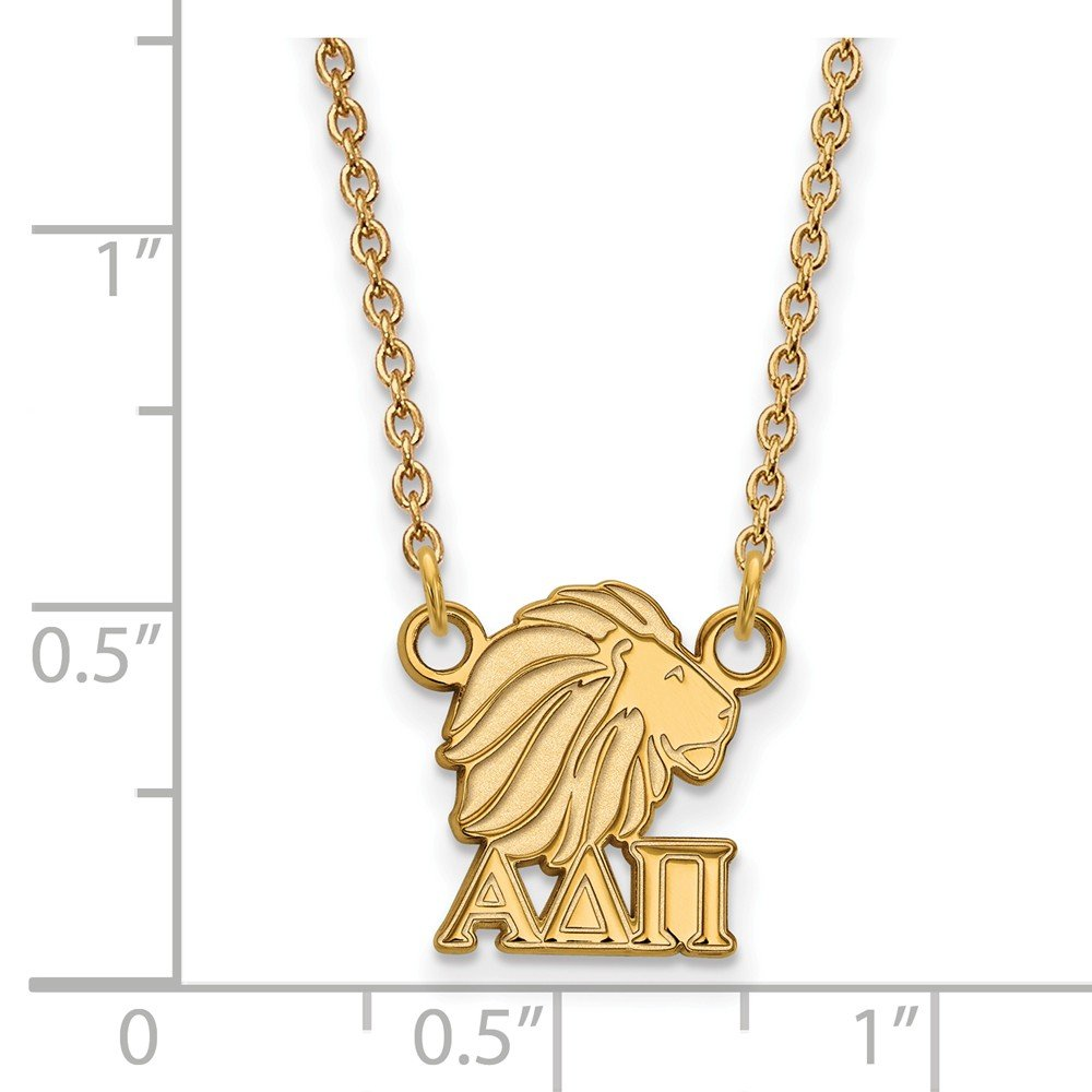 Jewel Tie 925 Sterling Silver with Gold-Toned Alpha Delta Pi Extra Small Pendant with Necklace 10mm